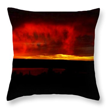 Throw Pillow featuring the painting Abiquiu Reservoir  by Dennis Ciscel
