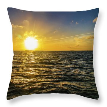 Throw Pillow featuring the photograph Aboard A Danger Charter Sunset Cruise In Key West by Bob Slitzan