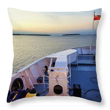 Aboard The Chi-cheemaun Throw Pillow