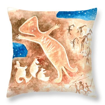 Throw Pillow featuring the painting Aboriginal  by Andrew Gillette