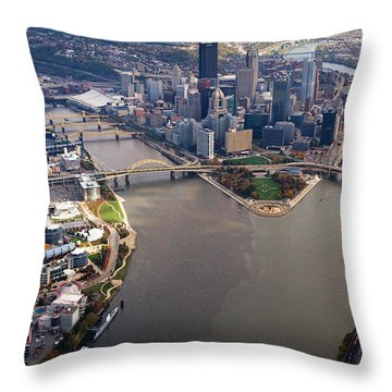 Above Pittsburgh In  Color  Throw Pillow