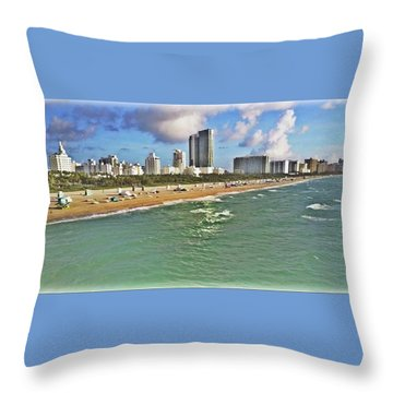 Above South Beach  Throw Pillow