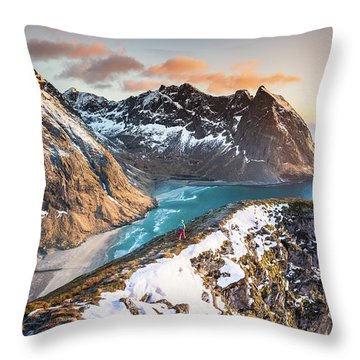 Above The Beach Throw Pillow by Alex Conu