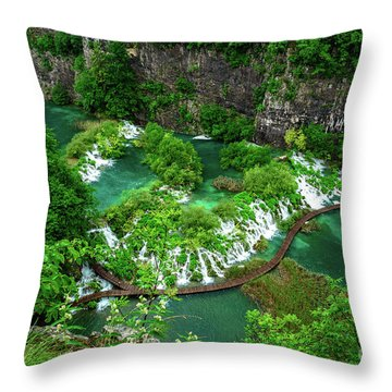 Above The Paths And Waterfalls At Plitvice Lakes National Park, Croatia Throw Pillow