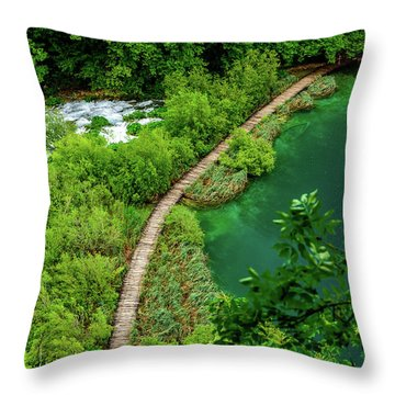 Above The Paths At Plitvice Lakes National Park, Croatia Throw Pillow