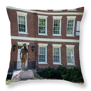 Throw Pillow featuring the photograph Abraham Baldwin Statue At Uga by Parker Cunningham