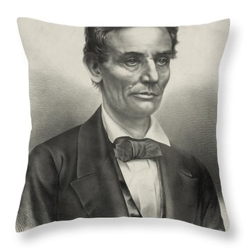 Throw Pillow featuring the photograph Abraham Lincoln - As A Presidential Candidate by International  Images