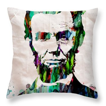 Abraham Lincoln Art Watercolor Throw Pillow
