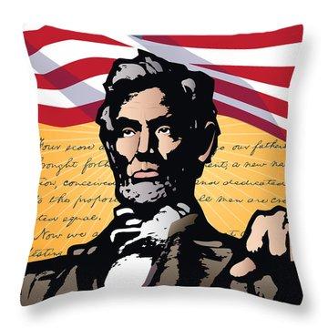 Abraham Lincoln, Gettysburg Address Throw Pillow