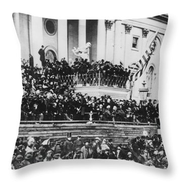Abraham Lincoln Gives His Second Inaugural Address - March 4 1865 Throw Pillow