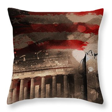 Throw Pillow featuring the painting Abraham Lincoln by Gull G