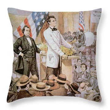 Abraham Lincoln In Public Debate With Stephen A Douglas In Illinois, 1858  Throw Pillow