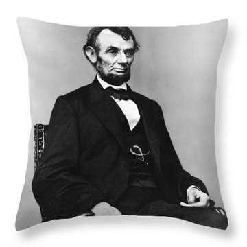 Abraham Lincoln Portrait - Used For The Five Dollar Bill - C 1864 Throw Pillow by International  Images