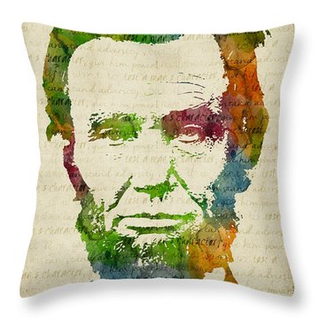 Abraham Lincoln Watercolor Throw Pillow by Mihaela Pater