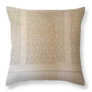 Abraham Lincoln's Second Inaugural Address Throw Pillow