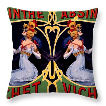 Absinthe Lady Ad Throw Pillow by Marianne Dow
