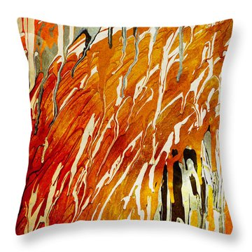 Throw Pillow featuring the painting Abstract A162916 by Mas Art Studio