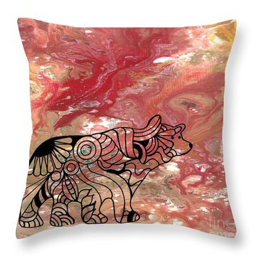 Abstract Acrylic Painting Bear And Zentangle Art Throw Pillow