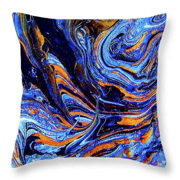 Throw Pillow featuring the mixed media Life Flowing -abstract Acrylic Painting-mix Media #2 by Renee Anderson