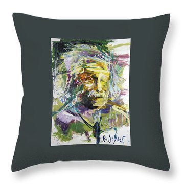 Abstract Albert Einstein Portrait Throw Pillow