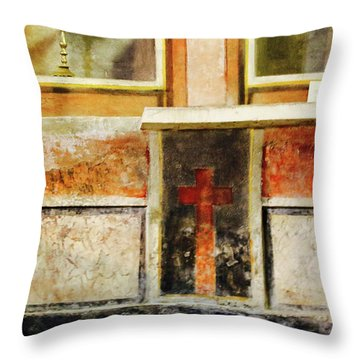 Throw Pillow featuring the photograph Abstract Altar by Rasma Bertz