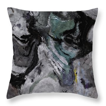 Throw Pillow featuring the painting Abstract And Minimalist Acryling Painting In Gray Color by Ayse Deniz