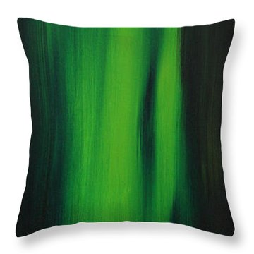 Abstract Art Colorful Original Painting Winter Passion - Green By Madart Throw Pillow by Megan Duncanson