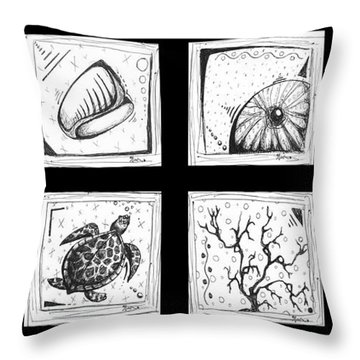 Abstract Art Contemporary Coastal Sea Shell Sketch Collection By Madart Throw Pillow by Megan Duncanson