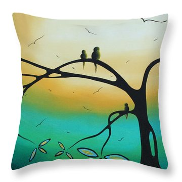 Abstract Art Landscape Bird Painting Family Perch By Madart Throw Pillow by Megan Duncanson