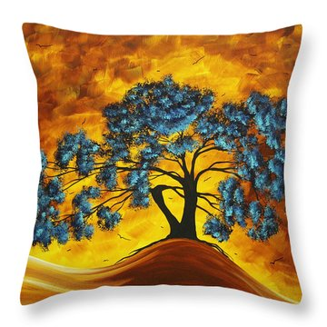Abstract Art Original Landscape Painting Dreaming In Color By Madartmadart Throw Pillow by Megan Duncanson