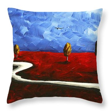 Abstract Art Original Landscape Painting Winding Road By Madart Throw Pillow by Megan Duncanson