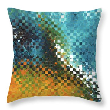 Abstract Art - Pieces 9 - Sharon Cummings Throw Pillow by Sharon Cummings
