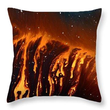 Abstract Art Volcanic Rain Fluid Painting Liquid Macro Photography By Kredart Throw Pillow