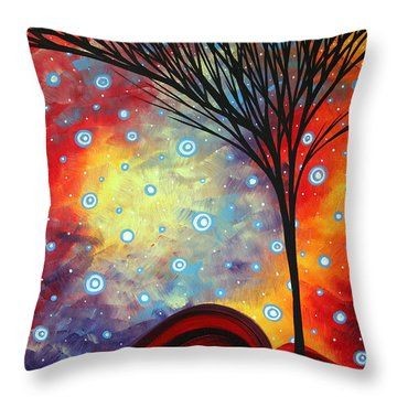 Abstract Art Whimsical Landscape Painting Morning Bliss By Madart Throw Pillow by Megan Duncanson