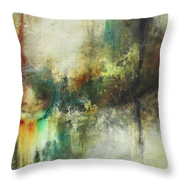 Abstract Art With Blue Green And Warm Tones Throw Pillow
