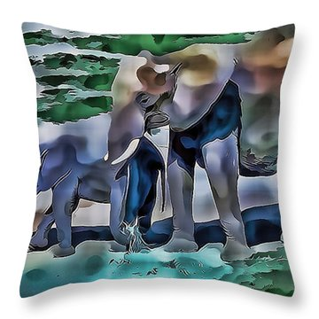 Abstract Baby Elephant  Throw Pillow