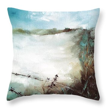 Abstract Barbwire Pasture Landscape Throw Pillow