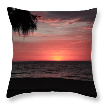 Abstract Beach Palm Tree Sunset Throw Pillow