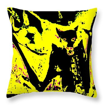 Black On Yellow Dog-man Throw Pillow