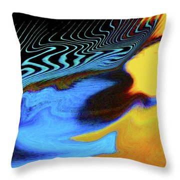 Abstract Blue Bird Feather Throw Pillow