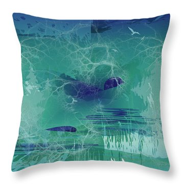 Throw Pillow featuring the digital art Abstract Blue Green by Robert G Kernodle