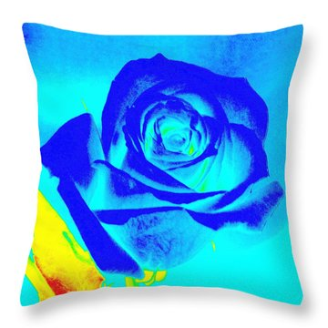 Abstract Blue Rose Throw Pillow