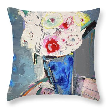Abstract Blue Vase Of White Bouquet Of Flowers Throw Pillow