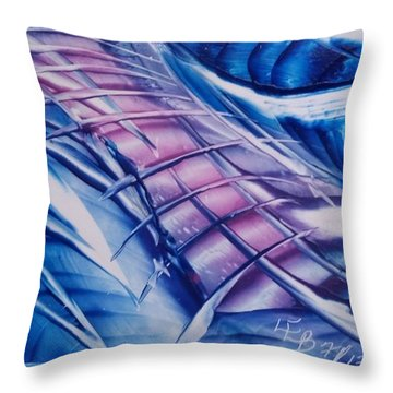 Abstract Blue With Pink Centre Throw Pillow