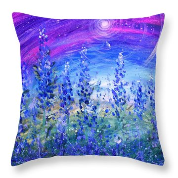 Abstract Bluebonnets Throw Pillow