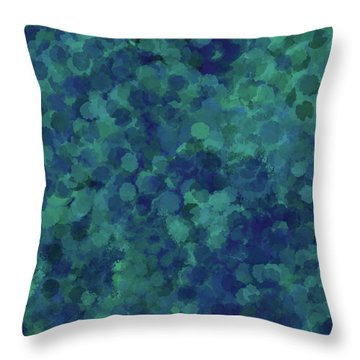Throw Pillow featuring the mixed media Abstract Blues 1 by Clare Bambers