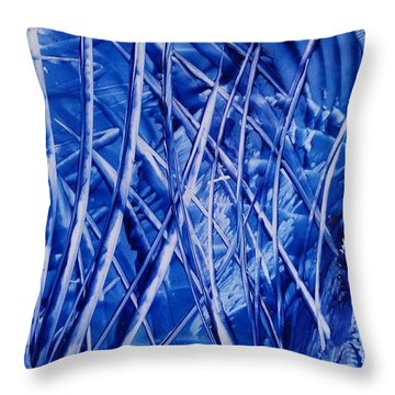 Abstract Blues Encaustic Throw Pillow