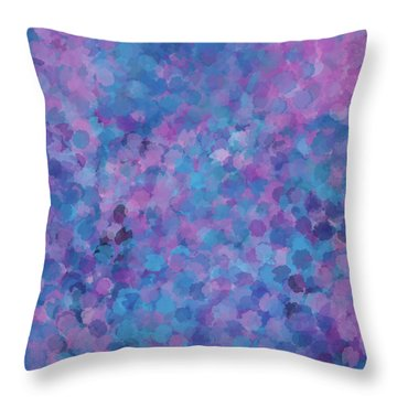 Throw Pillow featuring the mixed media Abstract Blues Pinks Purples 3 by Clare Bambers