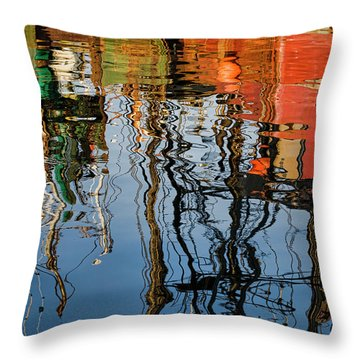Abstract Boat Reflections Iv Throw Pillow