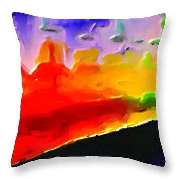 Throw Pillow featuring the painting Abstract Bottles Of Contemporary Bold Colors  by Exclusive Canvas Art